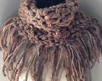 Chunky Brown Crochet Fringe Cowl endless infinity cowl