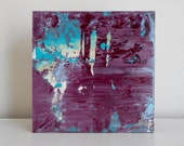 """Miniature Abstract Art - Original Acrylic Painting on Wood by Lisa Carney - Mardi Gras - Gift idea - Small Collectible Art - 6x6"""" - Purple"""