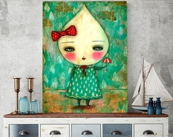 Raindrop - A paper print of a surreal original collage painting by Danita Art (Paper Prints and ACEO Wood Mounted)