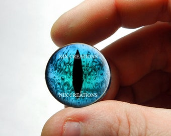 Glass Eyes - Liquid Turquoise Dragon Glass Eyes Glass Taxidermy Doll Eyes Cabochons - Pair or Single - You Choose Size