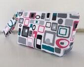 Retro squares wristlet  makeup bag medium size  cosmetic purse  clutch purse  zipper pouch