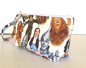 Wizard of Oz wristlet, makeup bag, zipper bag, zipper pouch, wristlet pouch, (524)