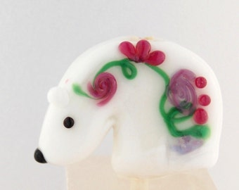 Glass Spirit Bear Cub Fetish Southwestern Style Handmade Bead or Sculpture by Marcy Lamberson
