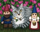 Tabby Cat Cat Painting Garden Gnomes Azalea Flowers Fantasy Cat Art Limited Edition Canvas Print 11x14 Art For Cat Lover