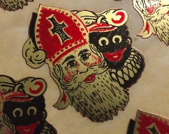 1pc VINTAGE GOLLIWOG STICKER Saint Nicholas Foil