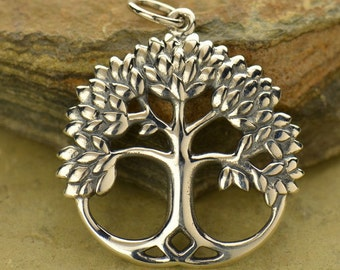 Sterling Silver Leafy Tree of Life pendant