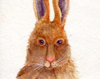 watercolor painting - Bunny Rabbit, original watercolor painting 4 x 6 brown bunny watercolor, small rabbit art