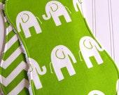 Elephant Burp Cloth  - Set of 2 Gender Neutral  - Super Absorbent Chenille - Green Elephants & Green Chevron