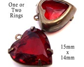 Ruby Red Vintage Glass Beads, Heart Pendant or Earrings, Patina Brass Settings, Sheer, 15mm, One or Two Rings, Rhinestone Jewels, One Pair