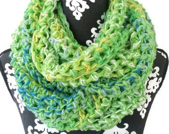 Infinity Scarf, Lime Green, Bohemian, Bulky Scarf, Vegan Friendly, Winter Fashion,  Large Scarf,  Psychedelic Cowl