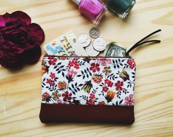 Edenham Floral Brown Leather Coin Purse, Leather Pouch, Change Purse, Small Floral Wallet, Fabric Change Wallet, 144collection