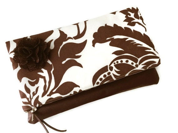 Clutch Bag Tapestry Fig Leather Fold Over Pouch, Brown Leather Pouch, Foldover Clutch, Brown Clutch, Clutch Purse, Leather Foldover Clutch