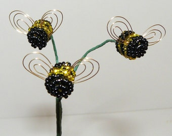 Silver-lined Yellow Bumblebee Trio Plant Stick For Your Beaded Flower or Artificial Flower Arrangement