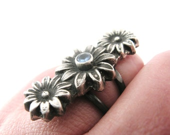 SUPER SALE! Flower Ring with Blue Zircon - Hand Cast in Sterling Silver OOAK