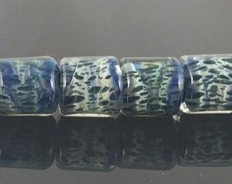 StoneyMarie Set of 4 Handmade Boro Borosilicate Lampwork Glass Beads Barrels