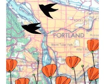 Portland Map Print // Map Art //Mt Tabor // Oregon Art // Love Bird Art // Modern Decor // Modern Kid Art // Rachel Austin 11x14
