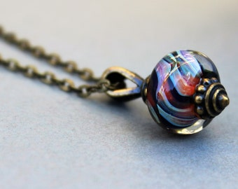 Antique Copper Lampwork Necklace - Lampwork Necklace - Multi-Color Swirl