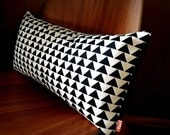 Modern Geometric Triangle Pattern Black and Off White Denim Cotton Rectangle Pillow