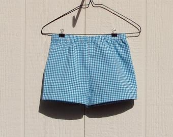 Turquoise Gingham Cotton Shorts Size 2 Toddler