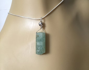 Aquamarine Crystal Pendant Sterling  Silver Chain 18""