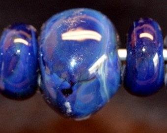 Celestial Blue- 7 Boro lampwork beads- SRA K45