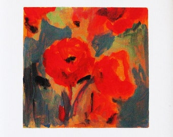 Poppies, original painting, acrylic on paper, landscape, garden, poppy field