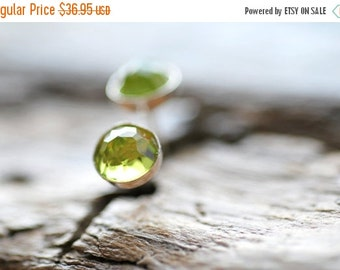 ON SALE Peridot Earrings Green Sterling Silver Rose Cut Peridot Gemstone Cabs Modern Peridot Jewelry 5mm Peridot Cabochon Stud Earrings Gift