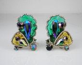 Vintage West Germany Poured Glass & Rhinestone Earrings Blue Green Gold Jewelry
