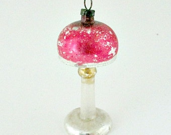 1940's Vintage Glass Christmas Tree Ornament  - 1940's Antique Silver Table Lamp Mid Century Ornament