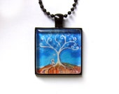 Westie West Highland White Terrier tree of life painting Art Glass Tile Pendant Necklace