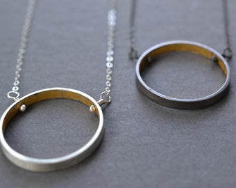 Wide Gold & Silver Circle Necklace- oxidized or bright finish