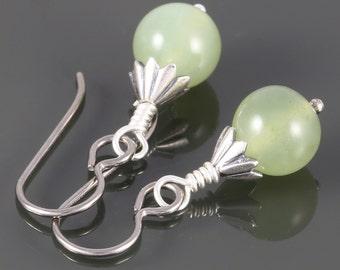 Light Green Serpentine Earrings. Titanium Ear Wires. Genuine Gemstone. f16e016