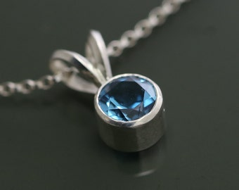 Genuine London Blue Topaz Sterling Silver Pendant on a Chain - Necklace - December Birthstone f15n008