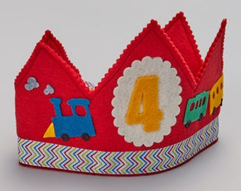 READY TO SHIP Train Birthday Crown - Red Crown - Personalized