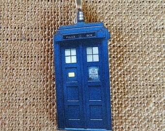 Police Box Pendant Necklace wood pendant call box blue box fangirl fandom Dr time travel