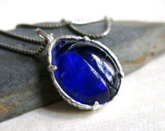Blue Glass Scarab Beetle Necklace - Dark Blue Cobalt Scarab Sterling Silver Bezel Set Pendant - Lucky Beetle Bug Insect Jewelry