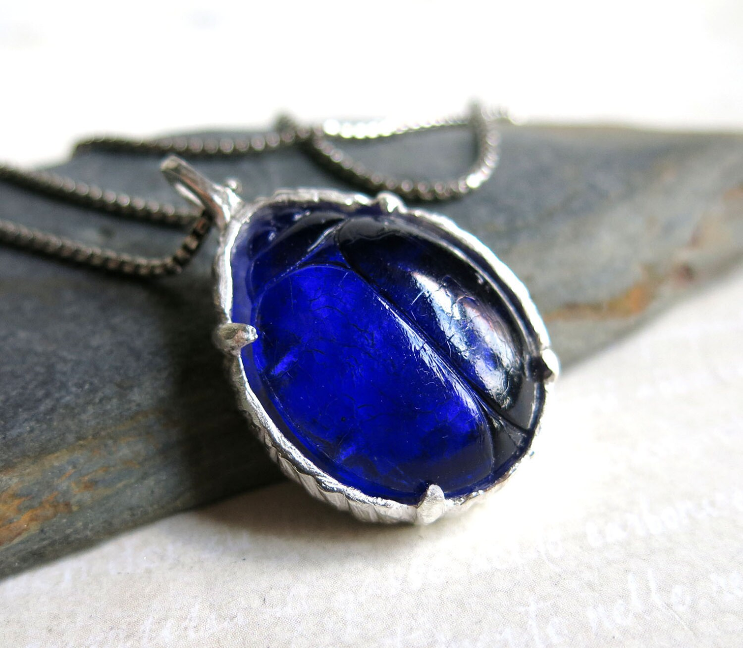 Blue Glass Scarab Beetle Necklace Dark Blue Cobalt Scarab