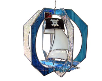 Pirate Ship Stained Glass Suncatcher