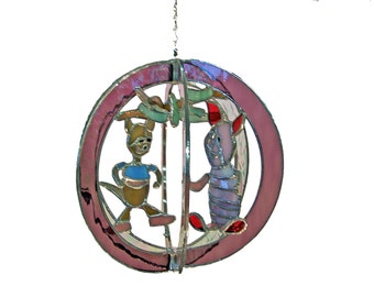 Piglet & Roo Stained Glass Suncatcher