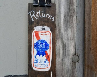 Rustic hand painted original PBR returns bathroom hanger