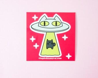 Alien Abduction Cat • Kiss Cut Vinyl Sticker