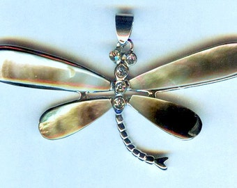 Charming Silver Abalone Shell Dragonfly Pendant with Rhinestones 60mm