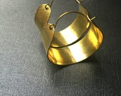 Gold (brass) Hoop Earrings Hammered (large)