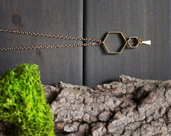 Ruche honey comb Necklace - hexagon beekeeper gift long gold geometric necklace for women nature lover gift honey bee modern jewelry pendant