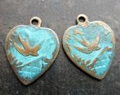 Vintage Brass Bird Heart Charms - 1 pair