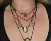 A Golden Hot Mess Necklace - Gold Washed Turquoise Briolettes with Black and Gold Vintage Cut Chain