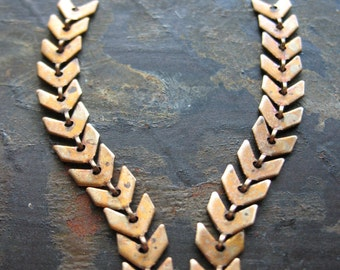 Chevron Chain Segments in Antiqued Brass - 2- 2 inch pieces