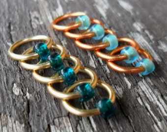 Dangle Free Knitting Stitch Markers Brass Copper Pale Green Teal Choose Ring Size, Quantity Knitting In The Round Option
