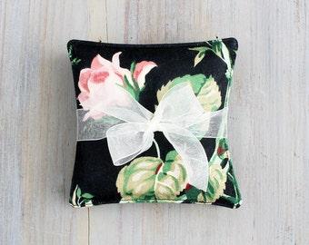 Black Floral Lavender Sachets, Pink Roses, Elegant Cottage Chic