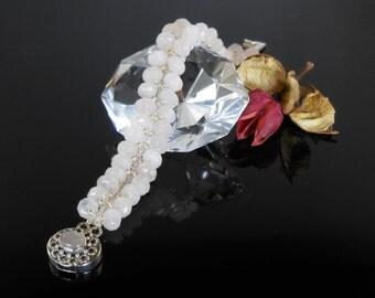 Handwoven Rose Quartz Sterling Silver Bracelet